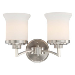 Nuvo Lighting - Nuvo Lighting 60-4102 Harmony 2-Light Vanity Fixture with Satin White Glass - Nuvo Lighting 60-4102 Harmony 2-Light Vanity Fixture with Satin White Glass