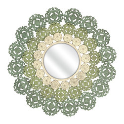 iMax - iMax Mcguire Medallion Mirror X-31347 - You'll love the intricate details of the McGuire Medallion Mirror. A round mirror is surrounded by wrought iron scrollwork with additional floral elements in softly painted shades of blue, green and ivory.