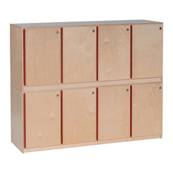 "Steffywood - Steffywood Home Indoor Office School Classroom Stackable Lockers - Four section locker has full-length piano hinges with locking doors.  Each storage area measures 11""W"