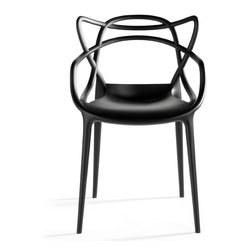 Kartell - Kartell Masters Chair (Set of 2) - Starck pays homage to three contemporary design icons and, through a fusion of styles, creates a sylistic summation - the Masters Chair.  Re-interpreted in a space age key, the Series 7 by Arne Jacobsen, the Tulip Armchair by Eero Saarinen, and the Eiffel Chair by Charles Eames weave into a most engaging and sinuous hybrid.  Standing on four slim legs, the Masters Chair is roomy and comfortable.  The back of the chair is its most fascinating feature, characterized by the fullness and empty spaces created by the curvaceous crisscrossing lines of three different backs which descend to merge into the edge of the seat.  Manufactured by Kartell.Designed in 2010.