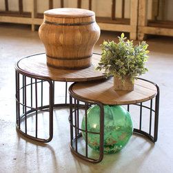 Farmer's Barrels Nesting Tables - Set of 2 - Taking their cue from rustic influences, the Farner's Barrells Nesting Tables are timeless yet unique. Featuring slat wood tops and metal tube bases, the set of two tables are great for small spaces and impromptu coffee catch-ups. Keep them together or showcase them either side of a guest bed or loveseat for electic charm and timeless appeal.