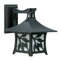 Exteriors - Exteriors Mandalay Traditional Outdoor Wall Sconce - Large X-36-4607Z - This large Craftmade Mandalay Traditional Outdoor Wall Sconce has a classic, Asian motif. Notice the design of the frame, with its gently sloped roof and leaf accents in a beautiful, antique bronze finish. It's a charming piece with panels of frosted glass that will surely diffuse light softly and pleasantly in any space.