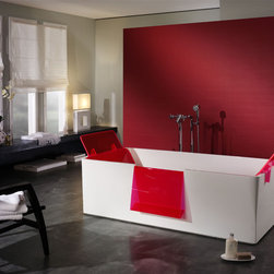 Hi-bath - Who says modern furniture has to be sterile? This bathtub stands out with fun pops of red that are both stylish and functional (you can store magazines in the overhanging shelf for easy, dry access).