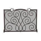 UniFlame - Single Panel Black Wrought Iron Ornate Screen - Series:  Black Wrought Iron