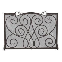 UniFlame - Single Panel Black Wrought Iron Ornate Screen - Series:  Black Wrought Iron