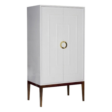 Worlds Away Miles White Lacquer Armoire, Brass - Worlds Away Miles White Lacquer Armoire Brass