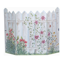 "Stupell Industries - Floral Picket Fence 3 Panel Decorative Fireplace Screen - Decorative and functional. Fire screen can be used as a wall plaque. It can lay flat. Made in USA. Original Stupell art. 44 in. W x 31 in. H (Approx.). 0.5 in. ThickA fireplace screen from ""The Stupell Home decor Collection"" will be the focal point of any room and the beautiful color and design will immediately enhance your hearth and it's surroundings. Both functional and decorative, this one of kind screen will keep your fireplace out of sight when it's not in use. This piece is handcrafted from original artwork by English muralist Julie Perren. A lithograph is laminated on sturdy 1/2'' thick mdf fiberboard and the sides are hand painted. The item is already assembled in the box and ready to be put in front of the fireplace."