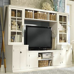 "Logan Glass Door Hutch Medium Media Suite with Bridge, Antique White - Our versatile Logan Full Media Suite with Bridge has multiple components that allow you to customize your storage and display space. To create a configuration ideal for your space, {{link path='/shop/furniture-upholstery/tools-furn/logan-media-furniture/'}}click here{{/link}} to view our Build Your Logan Media System Tool. Small includes one Small TV Stand, two 24"" Bases with Doors, two 24"" Hutches with Open Shelving, and one Small Bridge. Medium includes Large TV Stand, two 24"" Bases with Doors, two 24"" Hutches with Open Shelving and one Large Bridge. Large includes Large TV Stand, two 36"" Bases with Doors, two 36"" Hutches with Open Shelving and one Large Bridge. Expertly crafted from solid kiln-dried hardwood with birch veneers. Outfitted with cord cutouts for wire management. Wood swatches, below, are available for $25 each. We will provide a merchandise refund for wood swatches if they're returned within 30 days. Catalog / Internet Only. View our {{link path='pages/popups/fb-media.html' class='popup' width='480' height='300'}}Furniture Brochure{{/link}}."