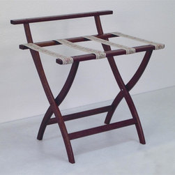"Wooden Mallet - Luggage Rack w Tapestry Webbing in Dark Red M - Our unique ""Wall Saver"" feature prevents costly wall damage. Has multiple uses when it doubles as a breakfast tray holder or blanket stand. Folds flat and is easily stored in a closet or against a wall when not in use. Four 2 in. woven straps support heavy suitcases. Graceful, curved legs add a designer flair. Rated to hold suitcases up to 100 lbs.. Built using solid oak construction and state-of-the-art finish for heavy use and lasting beauty.  Made in the USA. No assembly required. All Wooden Mallet products are warranted for 1 year against defects in materials and workmanship. Overall: 29.5 in. L x 23.75 in. W x 18 in. H (7 lbs.). Open: 29.5 in. L x 23.75 in. W x 18 in. H. Closed: 29.5 in. L x 23.75 in. W x 4.5 in. HGive your guest room the feeling of a four star hotel with this beautiful luggage rack. Built using solid oak and sturdy webbing, even the heaviest suitcases are easily supported by the four 2 in. wide woven straps. Our unique ""Wall Saver"" feature prevents costly wall damage. This luggage rack has multiple uses when it doubles as a breakfast tray holder or blanket stand. These luggage racks fold and unfold easily. Take it out for guests, and then fold it up for easy storage. It is also a great in the master bedroom for packing suitcases for business trips or vacations."