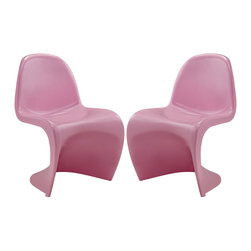 """Slither Dining Side Chair Set of 2 in Pink (EEI-1254-PNK) - Sleek and sturdy, rock back and forth in comfort with this injection molded marvel. Constructed from a single piece of strong ABS plastic, the """"s"""" shaped Slither chair can be found in many fashionable settings. Perfect for dining areas in need of a little zest, the design is versatile, fun and lively. Surprisingly cushy, choose from a selection of vibrant colors that won't fade over time. Slither is also perfect for spaces short on room. Set Includes: Two - Slither Dining Chair"""
