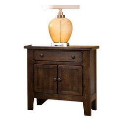 Broyhill - Broyhill Attic Heirlooms Vintage 1 Drawer and 2 Doors Night Stand-Rustic Oak Sta - Broyhill - Nightstands - 439993