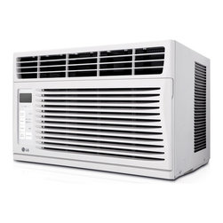 LG - 6000 BTU Window Air Conditioner - The LG LW6014ER Energy Star 6,000 BTU 115V Window-Mounted Air Conditioner with Remote Control is perfect for cooling a room up to 260 square feet. You will cool a lot and save even more with this unit's energy saver function, 24-hour on/off timer and a 11.2 Energy Efficiency Ratio. With its stylish full-function remote, you can even get your cool on from across the room. Plus, LG's patented Gold Fin anti-corrosion coating provides a protective shield so the unit lasts longer.2014 Energy Star qualified (EER: 11.2)|6,000 BTU air conditioner for window-mounted installation|Uses standard 115V electrical outlet|Cools a room up to 260 sq. ft.|Dehumidification up to 1.8 pints per hour|Full-function remote control|Thermistor thermostat|3 cooling speeds / 3 fan speeds for cooling flexibility|24-hour on/off timer cools on your schedule|Energy saver function conserves energy and saves you money|  lg| electronics| lw6014er| energy| star| 6000| 6|000| btu| 115v| 115| v| volt| volts| cooling| air conditioner| ac| a/c| window-mounted| window| mounted| 260sf| 260| sq| sq.| ft| ft.  Package Contents: air conditioner|remote control|2 AAA batteries|mesh filter|installation kit|manual/installation instructions|warranty  This item cannot be shipped to APO/FPO addresses