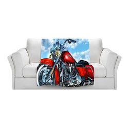 DiaNoche Designs - Throw Blanket Fleece - Mark Watts Road King - Original Artwork printed to an ultra soft fleece Blanket for a unique look and feel of your living room couch or bedroom space.  DiaNoche Designs uses images from artists all over the world to create Illuminated art, Canvas Art, Sheets, Pillows, Duvets, Blankets and many other items that you can print to.  Every purchase supports an artist!