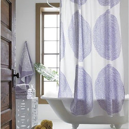 Marimekko Pippurikera Wisteria Shower Curtain - Polka dots are fun, but this shower curtain is decorated with more than the average polka dot. I love the doodle feel to the design on this curtain. It's sophisticated without being stuffy or too graphic.