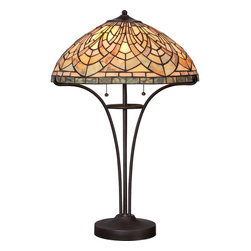 Quoizel - Quoizel Imperial Bronze Lamps - SKU: TFMT6320IB - With an almost Aztec vibe, the Marietta Tiffany series features hues of gold and rich moss green jade arranged in a unique, interlocking necklace pattern. With an unadorned base in a rich Imperial Bronze finish, it allows the shade to shine.