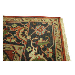 Manhattan Rugs - New Traditional 9x12 Rust & Midnight Blue Heriz Serapi Hand Knotted Rug H3385 - This is a true hand knotted oriental rug. it is not hand tufted with backing, not hooked or machine made. our entire inventory is made of hand knotted rugs. (all we do is hand knotted)