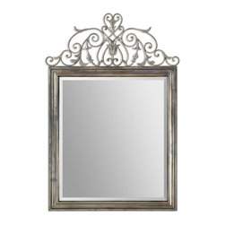 "Uttermost - Uttermost 12865  Kissara Metal Mirror - Hand forged metal frame with an open design of curled flourishes and leaf details finished in warm, tarnished silver. mirror features a generous 1 1/4"" bevel. matching console table is item #24347."