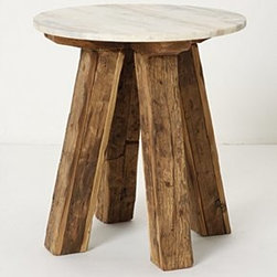"Anthropologie - Genova Side Table - Marble, reclaimed wood22""H, 20"" diameterImported"