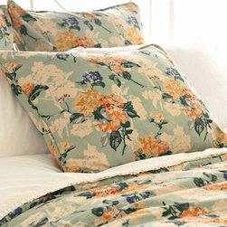 Pine Cone Hill - hydrangea sham - Enjoy the arts-and-crafts feel of our farmer's market bedding collection featuring charismatic bursts of color softened by traditional patterns. A bright and cheery mellange of vintage and modern with classic sensibility, this collection mixes soft florals and plush textures to lend a traditional look and feel to decorative pillows, shams and bed skirts. Charming bedspreads and throw blankets finish the bed with casual sophistication.