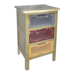 Cheung's - Multicolored 3 Drawer Mesh Cabinet With Cutout Handle - Multicolored Table Top. Distressed Look.