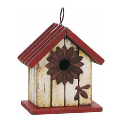 """Oddity - Oddity Red and Ivory Wooden Birdhouse 7"""" x 7"""" Pack 2 - This whimsical 7"""" x 7"""" red and ivory wooden birdhouse with a metal roof is a great home accent piece that can be used inside or out. The decorative flower around the opening and the adorable bee make this birdhouse something special."""