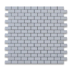 Stone Center Corp - Thassos White Marble Subway Brick Mosaic Tile 5/8 x 1 1/4 Polished - Premium Grade White Thassos Marble Mini Brick Mosaic tiles. Greek Thassos White Pure White Marble Polished 5/8 x 1 1/4 Brick Mosaic Wall & Floor Tiles are perfect for any interior/exterior projects. The 5/8x1-1/4 Thassos White Marble Mini Brick Mosaic tiles can be used for a kitchen backsplash, bathroom flooring, shower surround, countertop, dining room, entryway, corridor, balcony, spa, pool, fountain, etc.