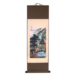 Oriental-Décor - Iconic Mountain Village - A dreamy iconic village nestled in the heart of the mountains is the theme of this stunning Chinese print scroll. One of our most beautiful landscape scrolls, it features a town, lake, trees, mountains and clouds. This scroll is perfect for adding color and an Asian decorative touch to any room in your home.