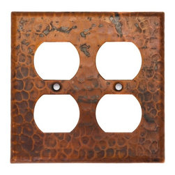 Premier Copper Products - Copper Switchplate Double Duplex, 4 Hole Outl - Dimensions: 4.5 in. x 4.5 in.