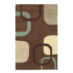"""Riff Brown Rug - 5'x8' - Inspirations were created from the greatest artworks of this century. This rug was designed to fill the home with line, style, taste, and color from the art palettes of the masters. Hand made with 100% premium wool in our new """"Haute-Couture"""" quality washed for a subtle refined and romantic look."""