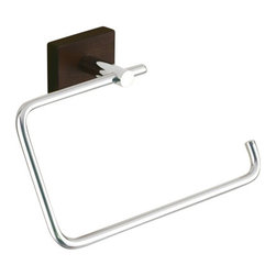 Gedy - Square Chrome Towel Ring With Wood Base - Wall mounted stainless steel towel ring with polished chrome finish and dark wooden base. Wall mounted towel ring. Made of stainless steel with wood base. From Gedy Minnesota Wood Collection.