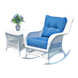 Wicker Paradise - Princeton Wicker Rocker White - Lazy summer afternoons are a lot more relaxing when you have a chair like this one. The classic lines and white color give this rocker a contemporary charm that works in a historic home or a modern-day cottage. The Princeton rocker comes with bottom and back cushions in Sunbrella Sapphire Blue fabric.
