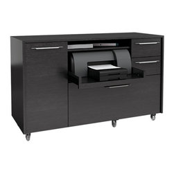 BDI - Format Mobile Credenza, Black Oak - The Format Mobile Credenza by BDI is perfect for the home office or work space. The minimalist and clean design is combined with file drawers, casters for easy mobility, and a pull out shelf for a printer. Two color options available.