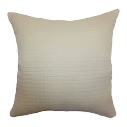 """The Pillow Collection - Obadiah Quilted Pillow Creme 20"""" x 20"""" - This quilted throw pillow is a perfect way to add a statement piece to your home. This beautiful 20"""" pillow comes in Creme shade. Decorate your sofa or bed with this simple yet elegant accent pillow. This decor pillow is made from 100% high-quality polyester fabric. This square pillow suits many decor styles, including: contemporary, coastal and modern. Hidden zipper closure for easy cover removal.  Knife edge finish on all four sides.  Reversible pillow with the same fabric on the back side.  Spot cleaning suggested."""