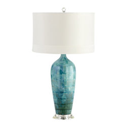 Kathy Kuo Home - Perugia Coastal Beach Aqua Blue Green Ceramic Glazed Lamp - So easy on the eyes, the blue green glaze on this ceramic lamp instantly calms and relaxes.  Simple enough to bridge a wide variety of design approaches, this is an ideal light for reading and relaxing in style.