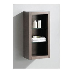 Fresca - Bathroom Linen Side Cabinet w Shelves (Wenge Brown) - Finish: Wenge BrownProduct Material: Wood. Finish: Gray Oak. 2 Glass Shelves. Perfect Match For All Fresca Allier in. Gray Oak in. Vanities. 15.75 in. W x 10 in. D x 32 in. HThis attractive hanging side cabinet comes in a Gray Oak finish. It features 2 glass shelves with 3 open areas.