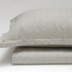 Area - Area Dia Grey Standard Cases (Pr) - Diamond patterned cotton jacquard in duvet covers, shams, and standard cases. For those of you who�_ve worked with for us a while, you may recognize the pattern as being similar to the RIGA cotton/linen blend collection. DIA continues in the path of RAY - subtle patterns in very soft cotton. Available now.