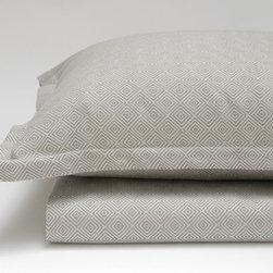 Area - Area Dia Grey Standard Cases (Pr) - Soft woven cotton sateen in a dark & light grey diamond pattern.