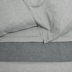 Area - Area Heather Grey Melange Cotton Fitted Sheet - Grey melange ring spun yarns woven into a very soft cotton percale. Mini flange on these adds a nice detail.