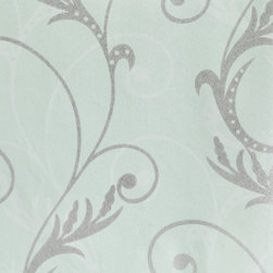 Wallpaper Worldwide - Floral Wallpaper, Blue, Green, Pastels - Material: Paper Backed. PVC.