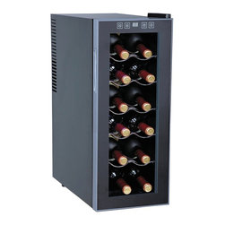 Sunpentown - Thermo-Electric Slim Wine Cooler, 12-Bottle - This slim wine cooler is the perfect solution for those wine lovers with a limited space. Fits up to 12 standard bottles and only 10.25 inch wide. Tinted double-pane glass door, recessed handle and black cabinet with platinum trim reflects a sleek and chic design. Touch sensitive control panel with LED temperature display on door. ThermoElectric Technology (no compressor) offers a quiet operation with no vibration. Adjustable temperature between 52 to 65F.