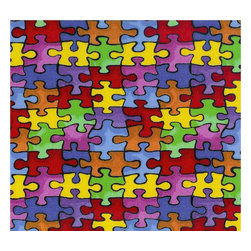 """SheetWorld - SheetWorld Fitted Crib / Toddler Sheet - Primary Puzzle - Made in USA - This luxurious 100% cotton """"woven"""" crib / toddler sheet features a bright and colorful puzzle print. Our sheets are made of the highest quality fabric that's measured at a 280 tc. That means these sheets are soft and durable. Sheets are made with deep pockets and are elasticized around the entire edge which prevents it from slipping off the mattress, thereby keeping your baby safe. These sheets are so durable that they will last all through your baby's growing years. We're called SheetWorld because we produce the highest grade sheets on the market today. Size: 28 x 52."""