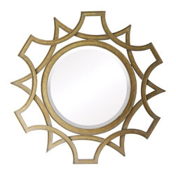Sterling Industries - Sterling Industries Abberly Round Mirror X-312-55 - From the Abberly Collection, this Sterling Industries round mirror is designed to draw your eye in. Whether placed in a foyer or used in a powder room, this stunning design features two overlapping frames with different patterns that blend together to create a starburst pattern. Gold finishing adds to the appeal of this starburst mirror.