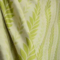 Waverly - Waverly Zahra Citrine Lime Green Fern Leaf Stripe Drapery Fabric By The Yard - Lime green and cream threads are used to create the fern leaf pattern on Zahra Citrine by Waverly.  This fabric is reversible and can be used for pretty much any of your decorating projects.