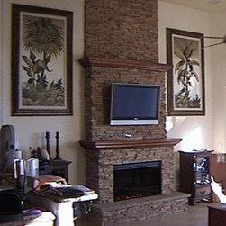 Fireplace with Eldorado Cast Stone and Cherry Mantles - Richard N. Slonin