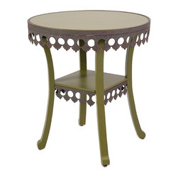 "Imax - Vintage Chic Lacy Green Accent Table - *Dimensions: 24""h x 22""w x 22"""