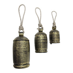 Zeckos - Set of 3 Decorative Antique Brass Hanging Bells - This set of 3 hanging bells adds a unique accent to your home, porch, or patio. They feature twisted rope hangers, a beautifully detailed design, and an antique brass finish. The smallest bell measures 6 inches tall, 3 inches in diameter, the middle bell is 7 1/2 inches tall, 4 inches in diameter, and the largest bell measures 9 3/4 inches tall, 5 inches in diameter. They make a nice housewarming gift, and are sure to be admired wherever they are displayed.