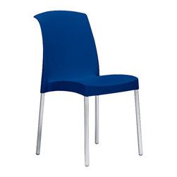 Eurostyle - Jenny Chair (Set of 6) - Blue/Aluminum - Recyclable polypropylene shell