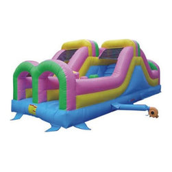 Kidwise - Kidwise Commercial Double Challenger Inflatable Slide - ST-1001-COM - Shop for Tents and Playhouses from Hayneedle.com! Let kids compete side by side with the Double Challenger Inflatable Slide. It features a short but challenging obstacle course for two players along with a fun end slide for maximum excitement. Ideal for a variety of special events or parties this large inflatable is made to hold up to 400 pounds or four kids. Made from 18-ounce vinyl material (PVC Tarpaulin) it offers everything needed for a fun time. This inflatable arena includes a blower stakes and instructions. Also includes 30 day warranty against material defects and workmanship. Folded up or inflated the entire product weighs 330 pounds and is ideal for commercial use.Information About DeliveryWe are pleased to offer LTL delivery on this item that includes tailgate service. Tailgate service means that the item is lifted off the truck and placed at an immediate curbside location such as a driveway or parking lot. Our LTL delivery service will call to pre-arrange a delivery time. Please note that the item is very heavy. We suggest you make separate arrangements for help moving the item to its final location. If you would like additional help with the item from the LTL delivery service you may make separate arrangements when confirming the delivery time. Additional help moving the item will require separate additional fees payable to the LTL carrier.A lead-free product: a note from KidwiseRecent concerns regarding inflatable bounce products with illegal lead concentrations have lead to allegations against producers and distributors of these products by the state of California. Naturally this serious matter is of concern to us and to our customers. Kidwise products are not included in these allegations. Our materials are tested at intervals throughout the year and after production runs. We have always tested for lead content in materials to verify our products are safe for kids. We al