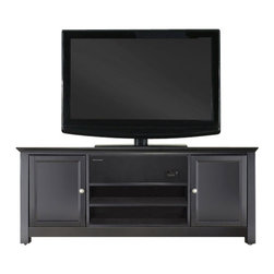 Crosley Furniture - Crosley Furniture 48 Inch Low Profile AroundSound TV Stand Black - Crosley raises the bar in home audio electronics with the introduction of the Crosley AroundSound TV Stand.  Designed with the home theater enthusiast in mind, this single solution offers a high definition sound experience cleverly built into a distintive Crosley Media Cabinet.  This extraordinary pairing is truly where form meets function.  The AroundSound SoundBar is specifically designed to enhance your favorite TV programming, music, high definition video, and gaming applications.  Cutting edge technology delivers a robust richness for optimal acoustical consistency no matter where you are seated.  We then marry our impressive audio with an exceptionally crafted Crosley Furniture Cabinet.  Handsomely porportioned, our media consoles accomodate most flat panel TVs while effortlessly taming the unsightly mess of tangled wires.  Discreetly conceal stacks of CDs, DVDs, gaming components and media paraphernalia.  Finally, a solution that combines a beautiful furniture cabinet with a remarkable home theater sound experience - only from Crosley.