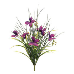 Silk Plants Direct - Silk Plants Direct Butterfly and Grass Bush (Pack of 12) - Violet - Pack of 12. Silk Plants Direct specializes in manufacturing, design and supply of the most life-like, premium quality artificial plants, trees, flowers, arrangements, topiaries and containers for home, office and commercial use. Our Butterfly and Grass Bush includes the following: